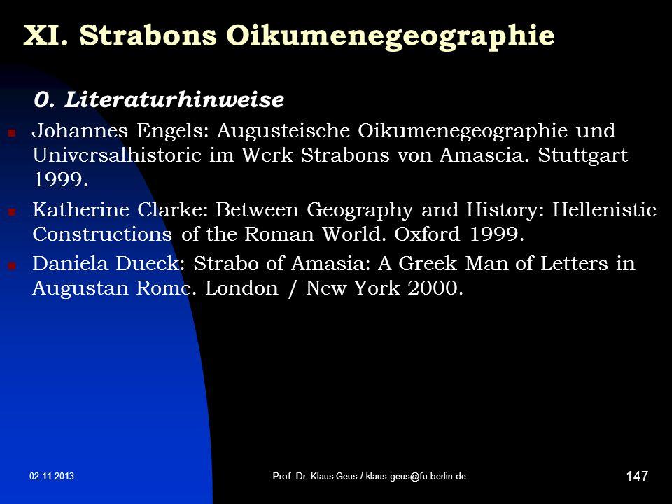 XI. Strabons Oikumenegeographie