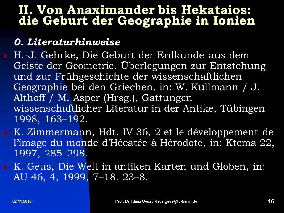 II. Von Anaximander bis Hekataios: die Geburt der Geographie in Ionien