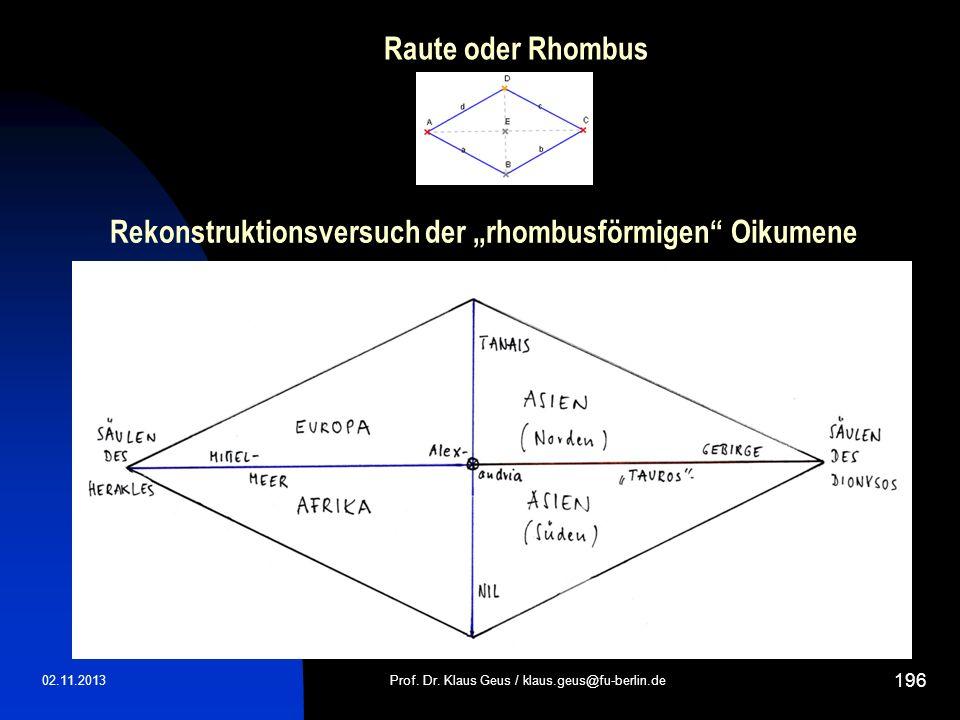 """Rekonstruktionsversuch der """"rhombusförmigen Oikumene"""