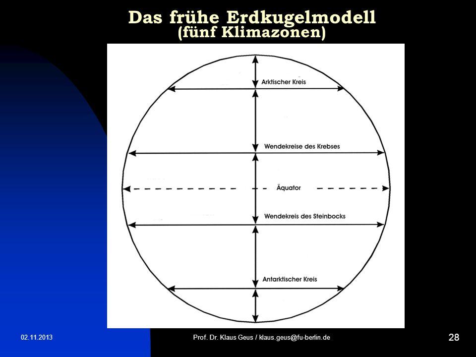 Das frühe Erdkugelmodell (fünf Klimazonen)