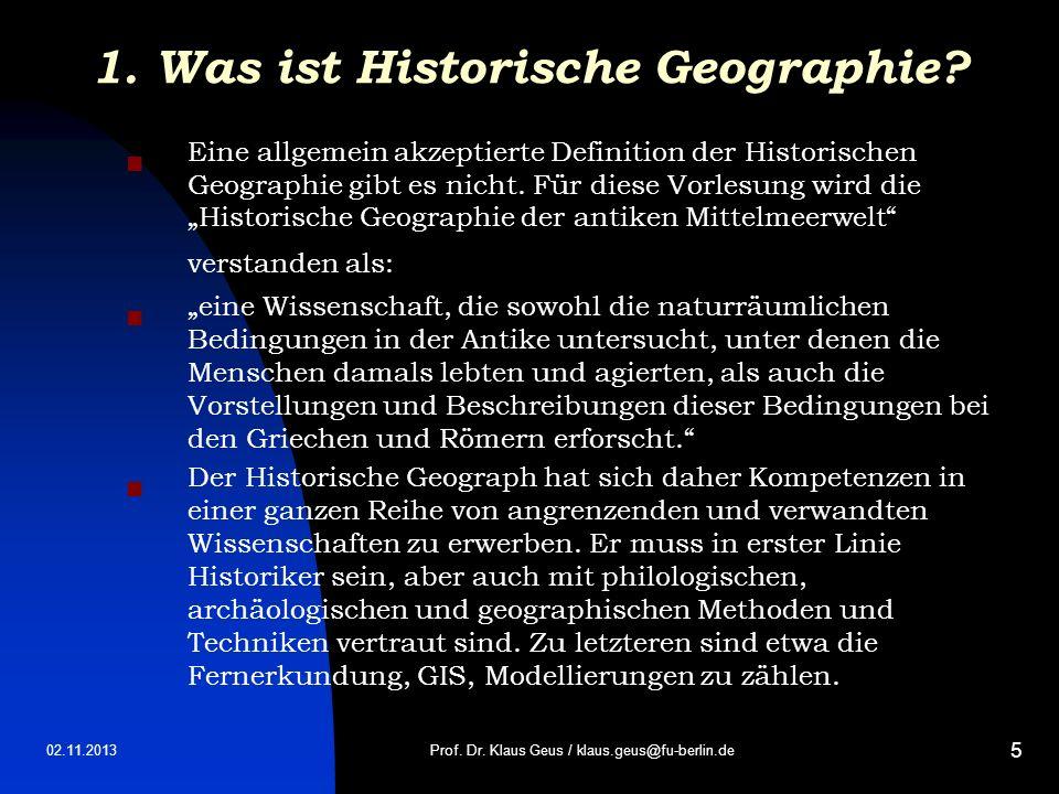 1. Was ist Historische Geographie
