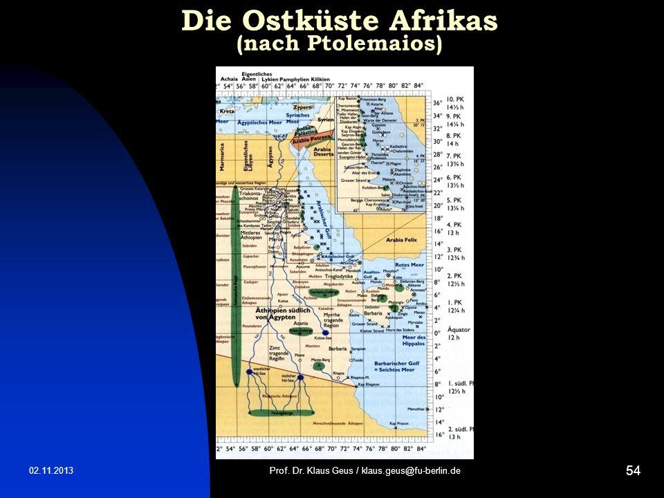 Die Ostküste Afrikas (nach Ptolemaios)