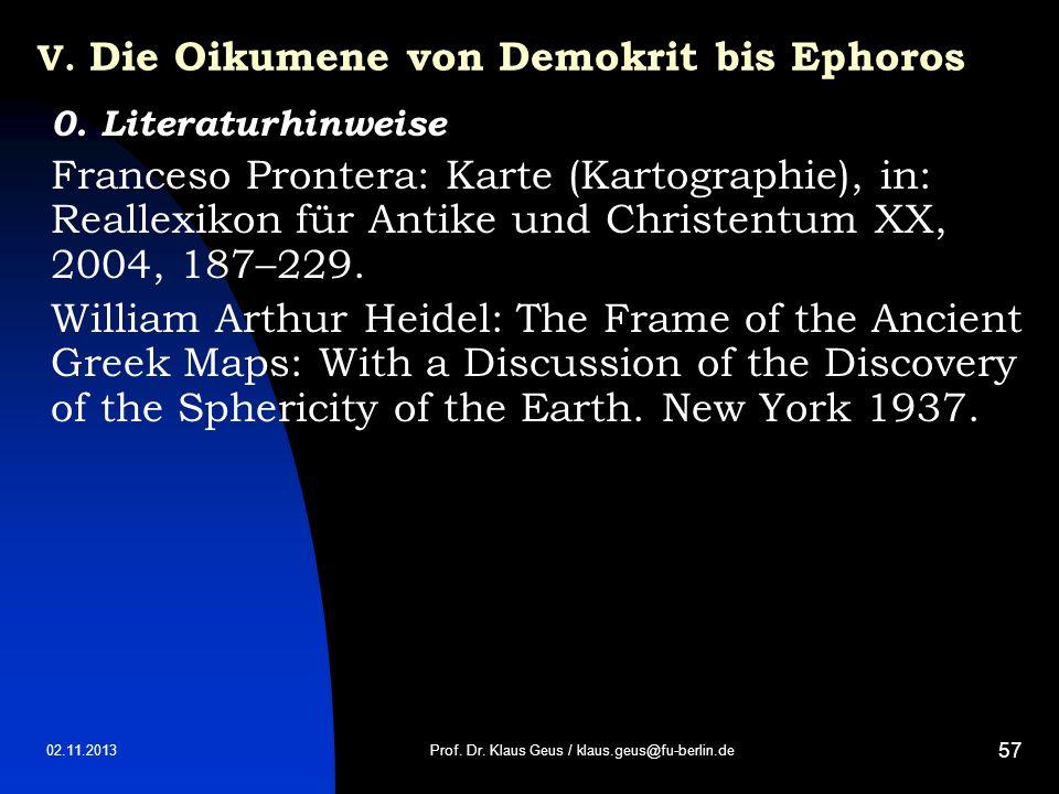 V. Die Oikumene von Demokrit bis Ephoros