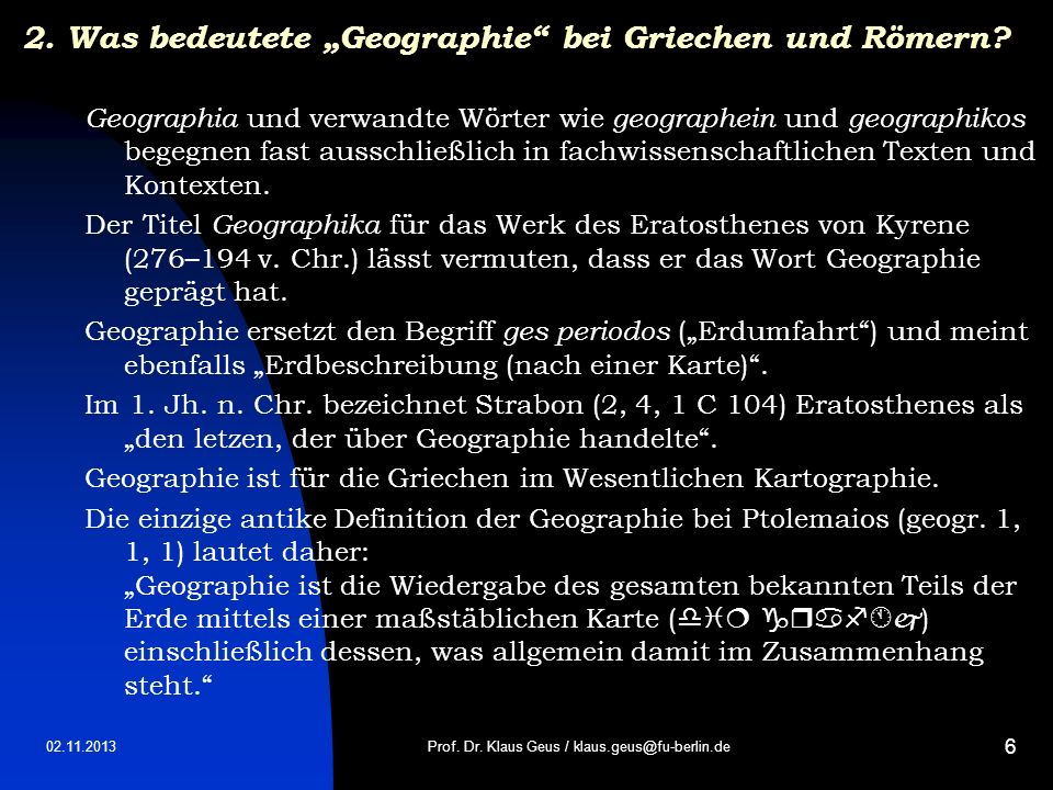 """2. Was bedeutete """"Geographie bei Griechen und Römern"""