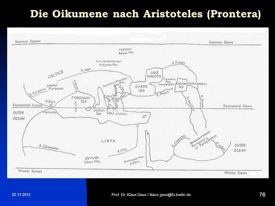 Die Oikumene nach Aristoteles (Prontera)