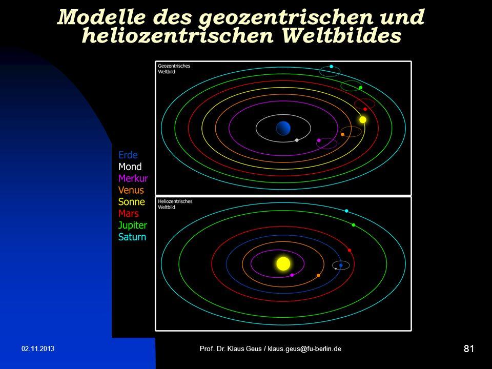 Modelle des geozentrischen und heliozentrischen Weltbildes