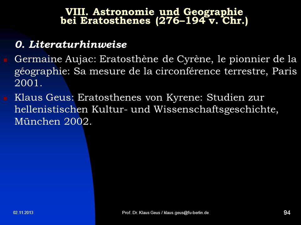 VIII. Astronomie und Geographie bei Eratosthenes (276–194 v. Chr.)