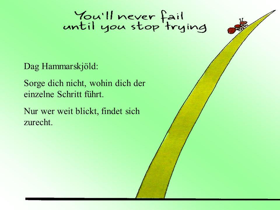 Dag Hammarskjöld:Sorge dich nicht, wohin dich der einzelne Schritt führt.