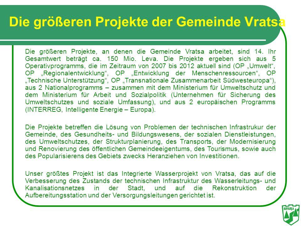 Die größeren Projekte der Gemeinde Vratsa
