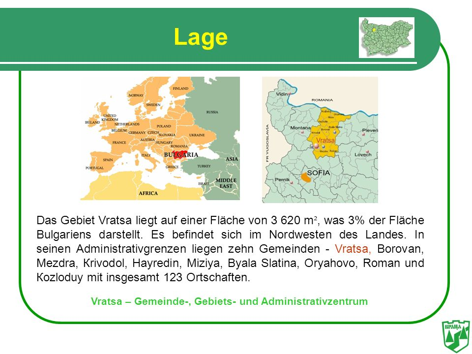 Vratsa – Gemeinde-, Gebiets- und Administrativzentrum