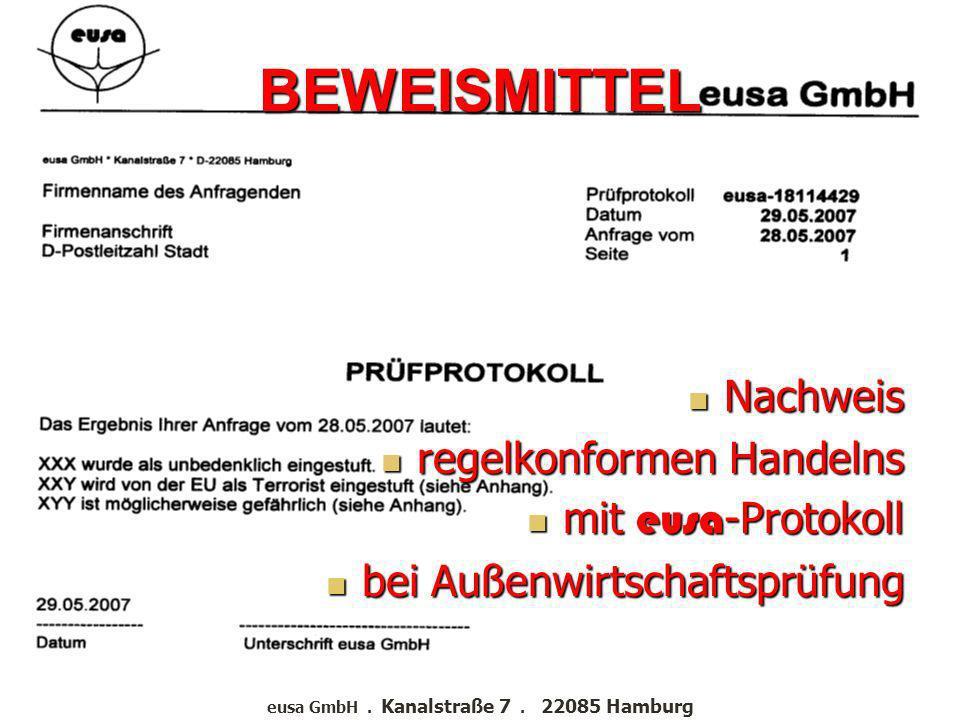 eusa GmbH . Kanalstraße 7 . 22085 Hamburg