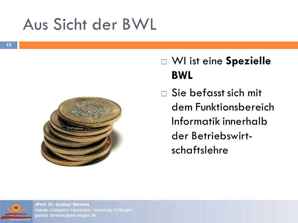 Aus Sicht der BWL WI ist eine Spezielle BWL