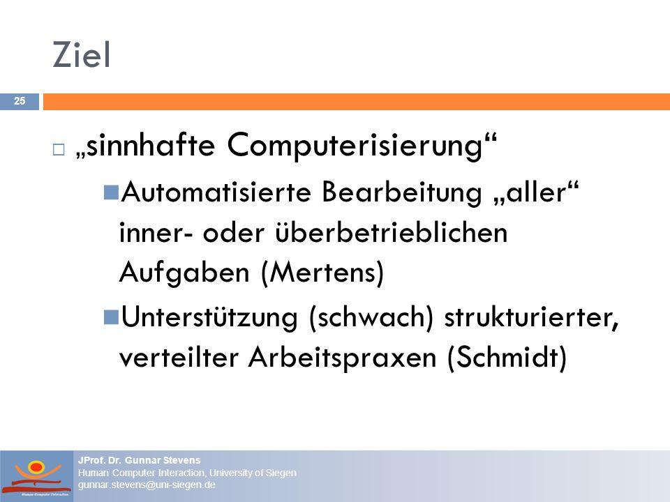 """Ziel """"sinnhafte Computerisierung Automatisierte Bearbeitung """"aller inner- oder überbetrieblichen Aufgaben (Mertens)"""