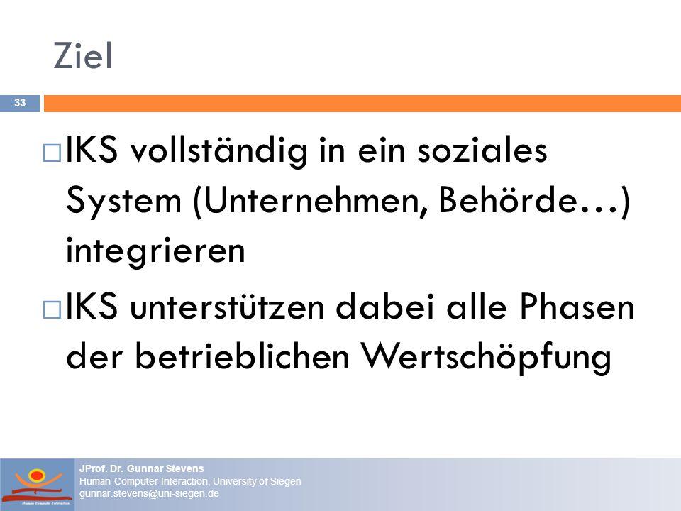 Ziel IKS vollständig in ein soziales System (Unternehmen, Behörde…) integrieren.