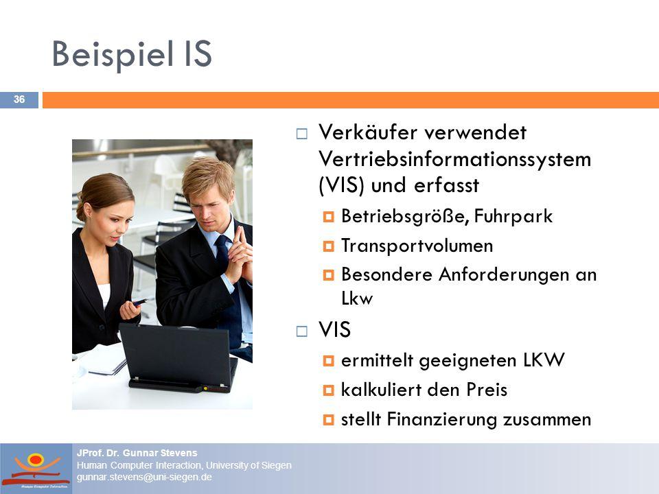Beispiel IS Verkäufer verwendet Vertriebsinformationssystem (VIS) und erfasst. Betriebsgröße, Fuhrpark.