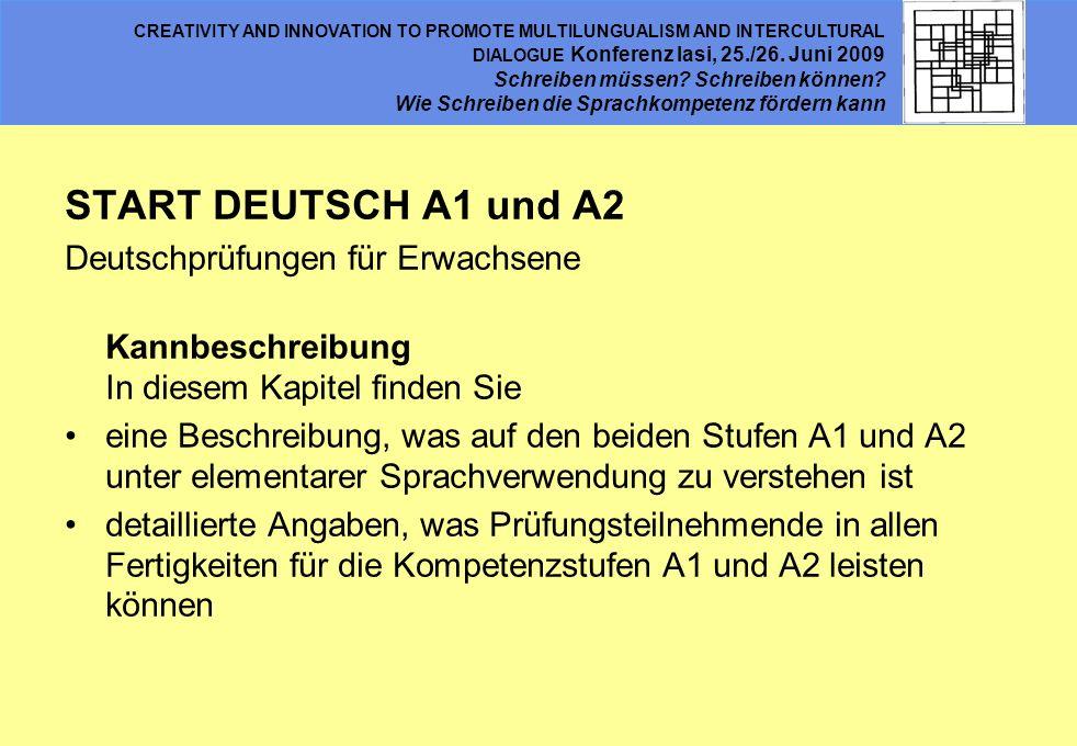 START DEUTSCH A1 und A2 Deutschprüfungen für Erwachsene