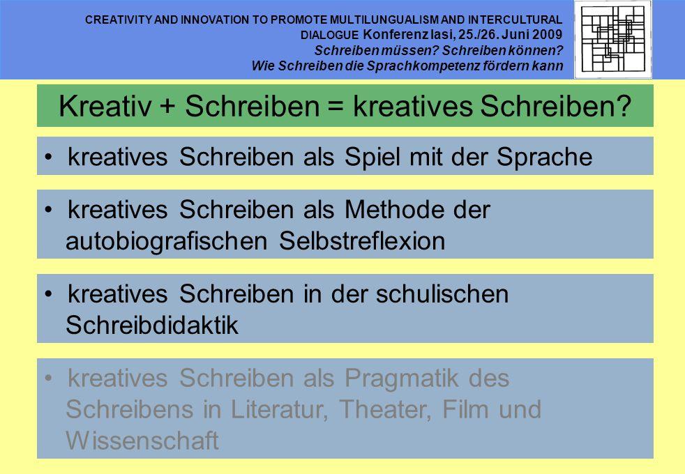 Kreativ + Schreiben = kreatives Schreiben