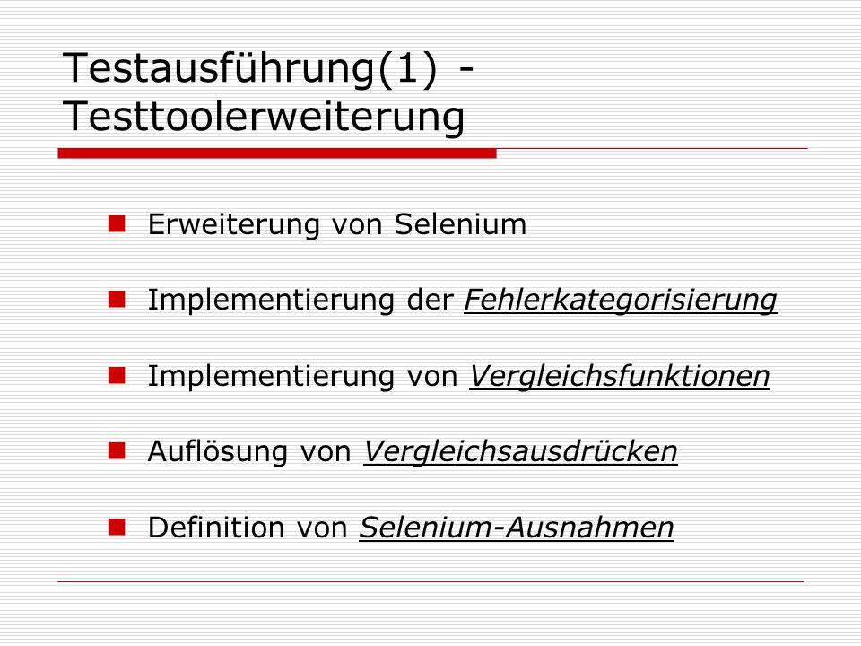 Testausführung(1) - Testtoolerweiterung