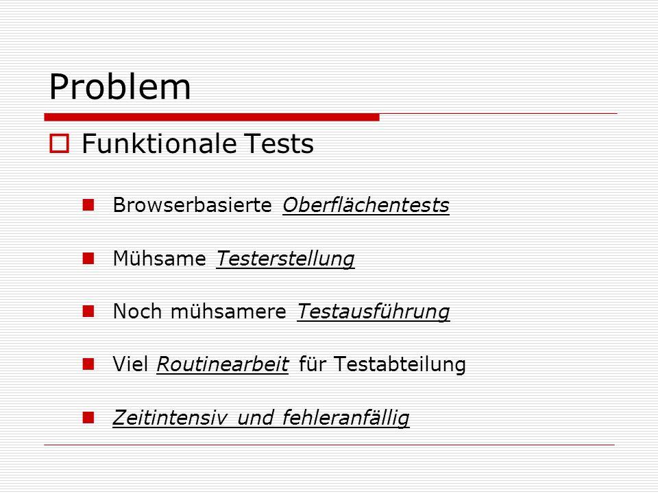 Problem Funktionale Tests Browserbasierte Oberflächentests