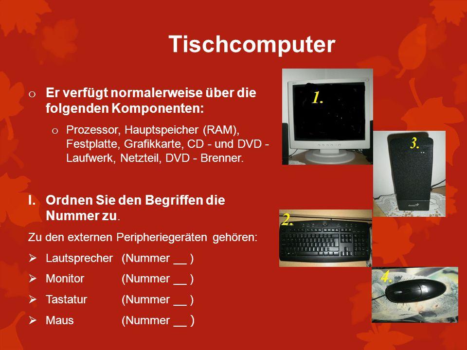 Tischcomputer Er verfügt normalerweise über die folgenden Komponenten: