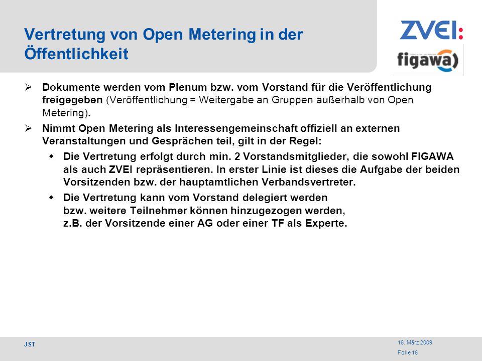 Vertretung von Open Metering in der Öffentlichkeit
