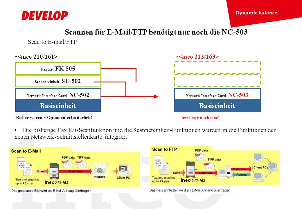 Scannen für E-Mail/FTP benötigt nur noch die NC-503