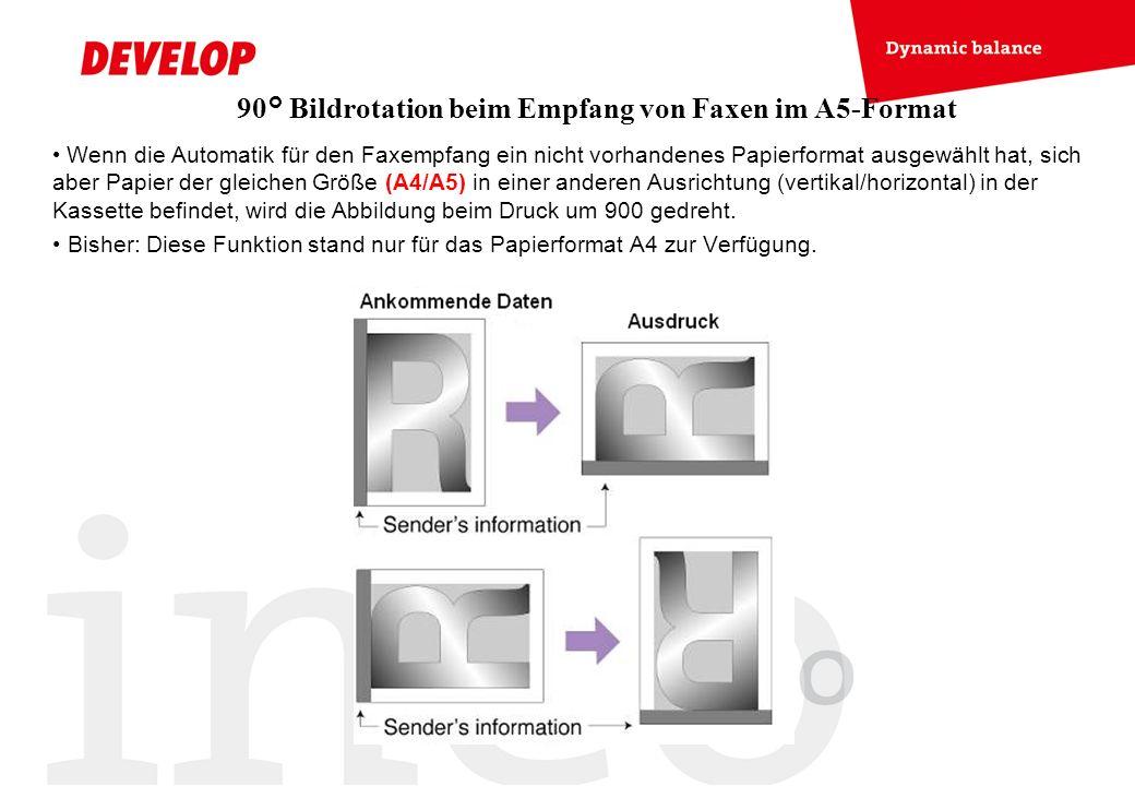 90° Bildrotation beim Empfang von Faxen im A5-Format