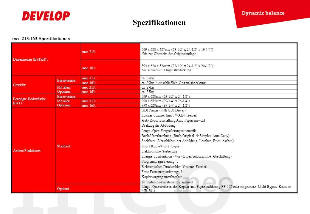 Spezifikationen ineo 213/163 Spezifikationen Dimensionen (BxTxH) :
