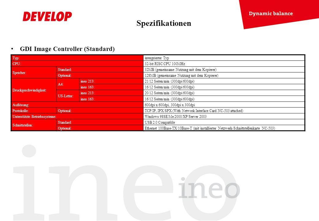 Spezifikationen GDI Image Controller (Standard) Typ: intergrierter Typ