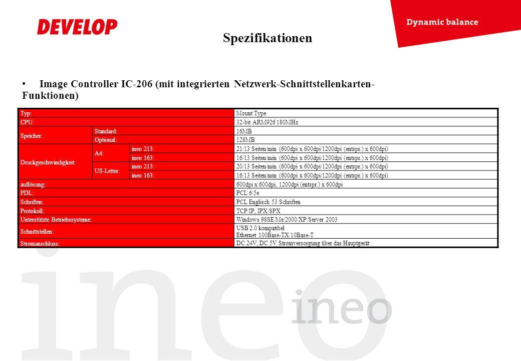 Spezifikationen Image Controller IC-206 (mit integrierten Netzwerk-Schnittstellenkarten-Funktionen)