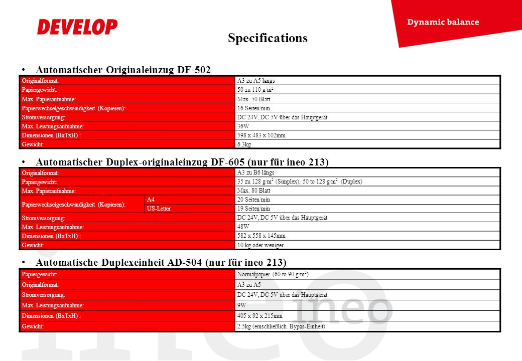 Specifications Automatischer Originaleinzug DF-502