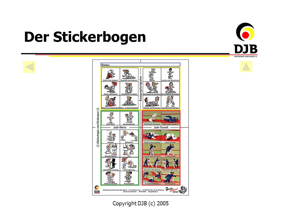 Der Stickerbogen Copyright DJB (c) 2005