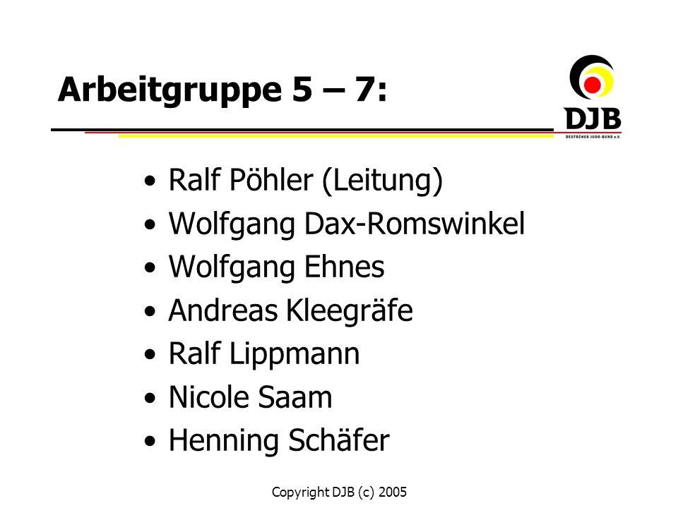 Arbeitgruppe 5 – 7: Ralf Pöhler (Leitung) Wolfgang Dax-Romswinkel