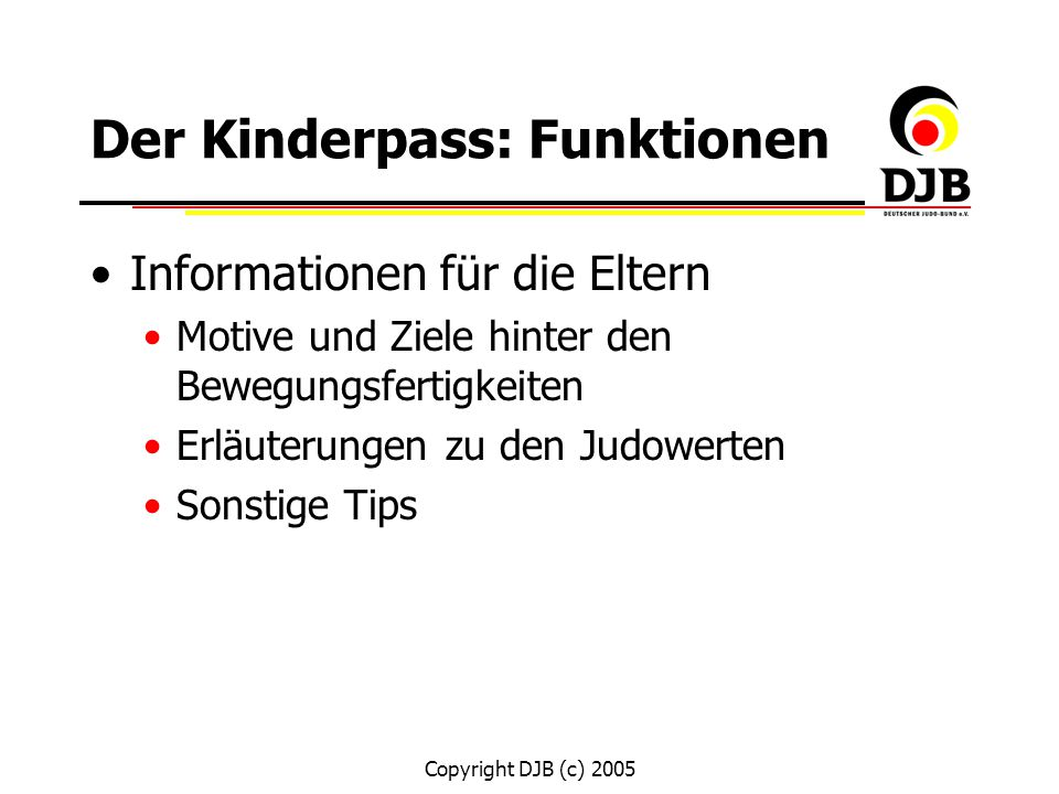 Der Kinderpass: Funktionen