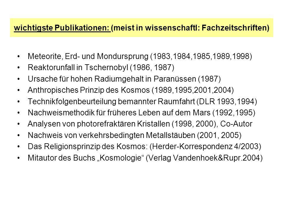 wichtigste Publikationen: (meist in wissenschaftl: Fachzeitschriften)