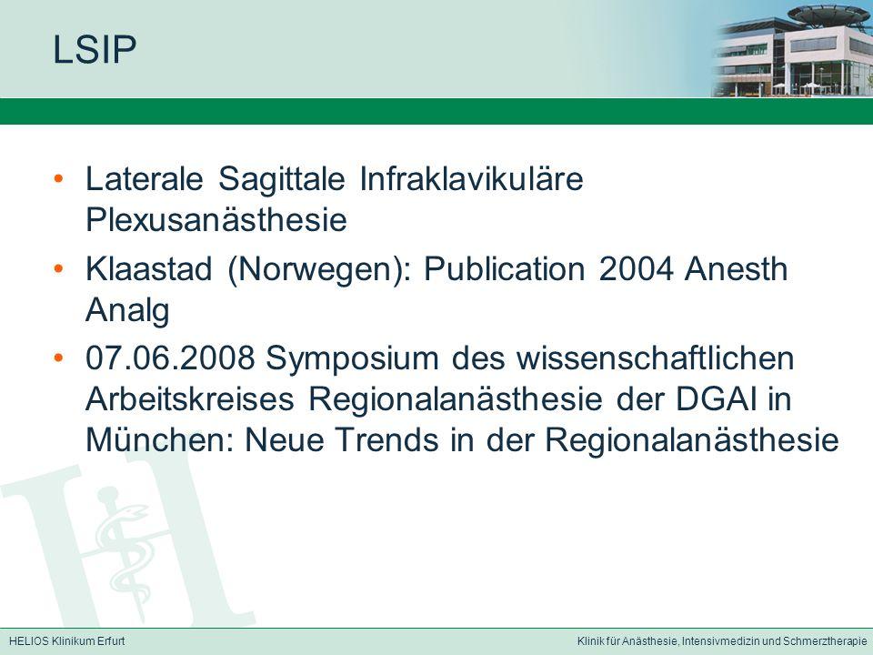 LSIP Laterale Sagittale Infraklavikuläre Plexusanästhesie