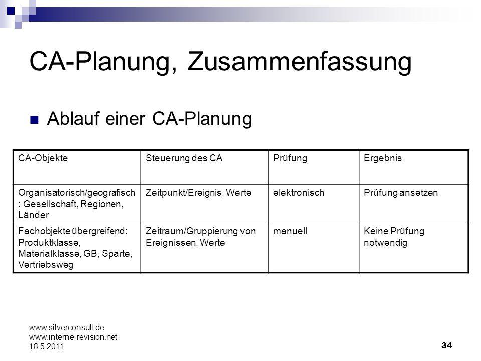 CA-Planung, Zusammenfassung