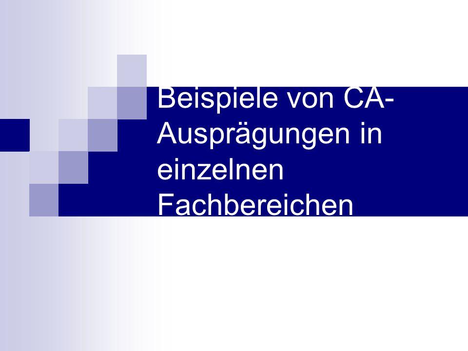 Beispiele von CA-Ausprägungen in einzelnen Fachbereichen