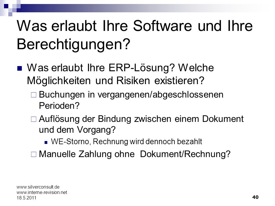 Was erlaubt Ihre Software und Ihre Berechtigungen