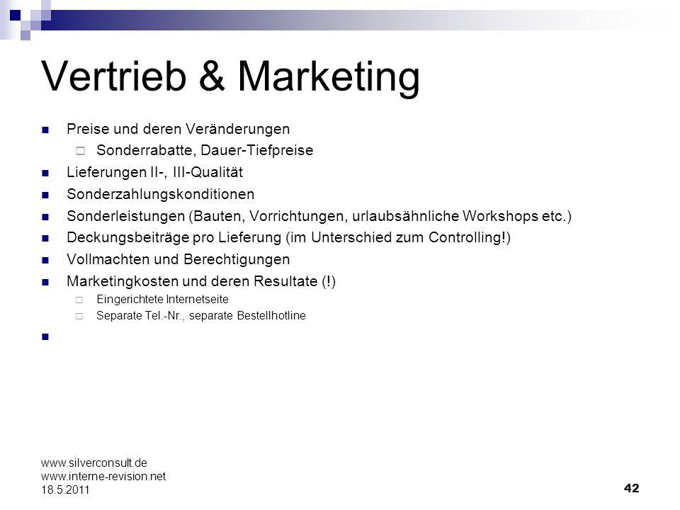 Vertrieb & Marketing Preise und deren Veränderungen