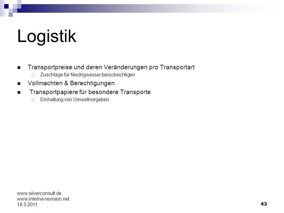 Logistik Transportpreise und deren Veränderungen pro Transportart