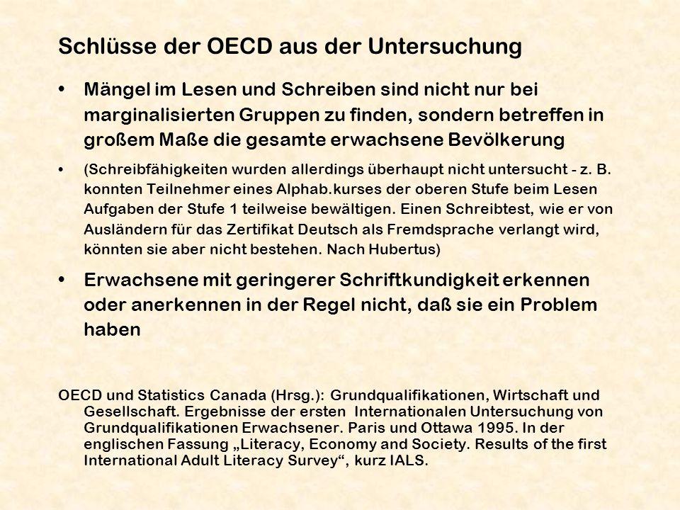 Schlüsse der OECD aus der Untersuchung