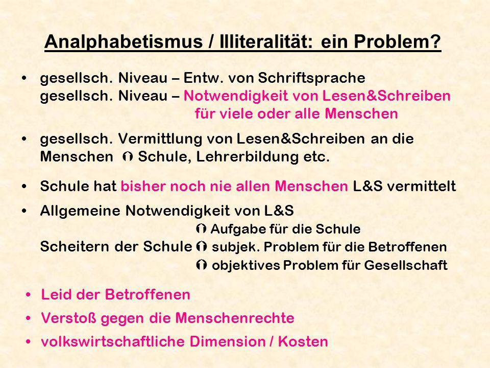 Analphabetismus / Illiteralität: ein Problem