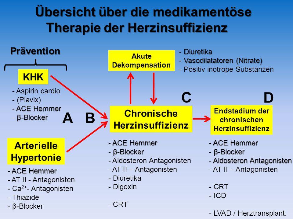 C D A B Übersicht über die medikamentöse Therapie der Herzinsuffizienz