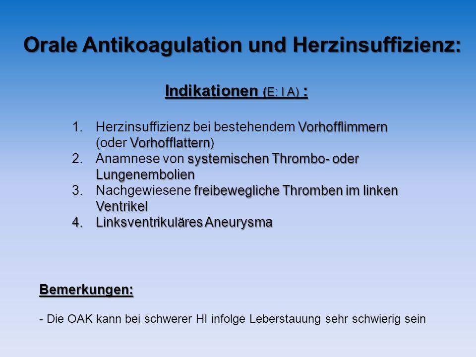 Orale Antikoagulation und Herzinsuffizienz: