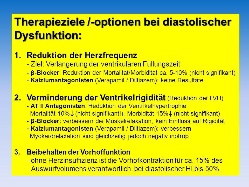 Therapieziele /-optionen bei diastolischer Dysfunktion: