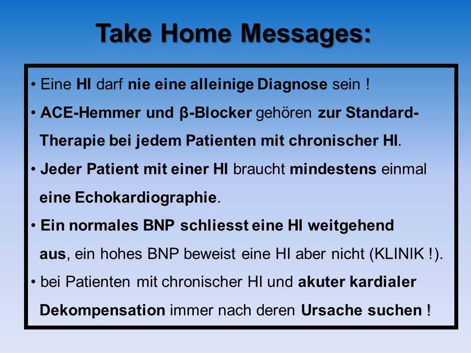 Take Home Messages: Eine HI darf nie eine alleinige Diagnose sein !