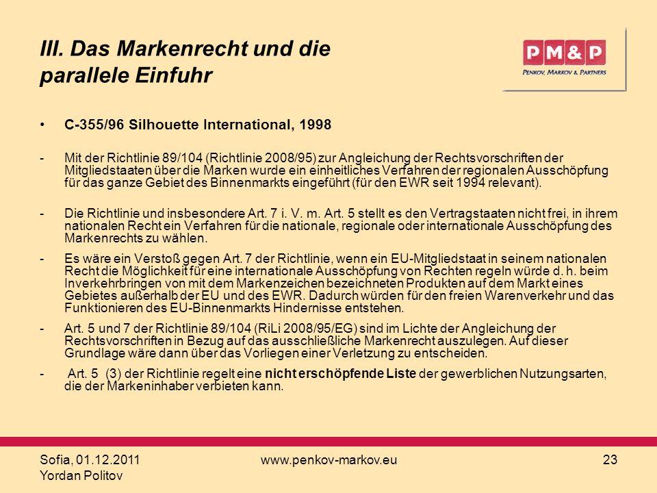 III. Das Markenrecht und die parallele Einfuhr
