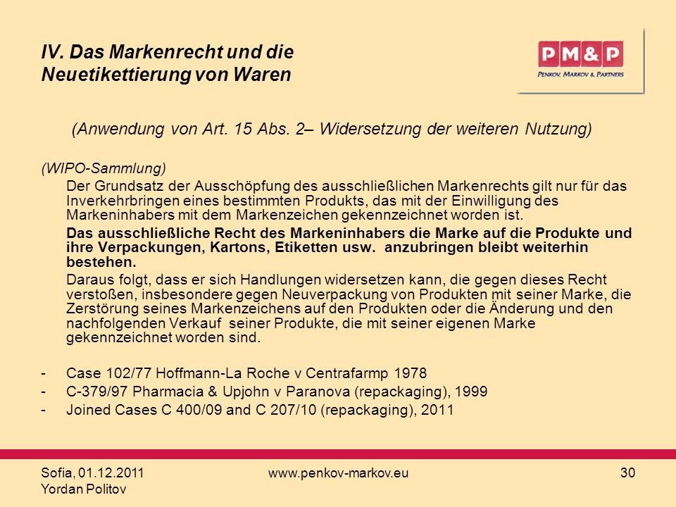 IV. Das Markenrecht und die Neuetikettierung von Waren