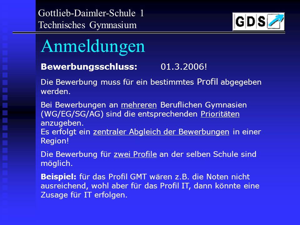 Anmeldungen Gottlieb-Daimler-Schule 1 Technisches Gymnasium